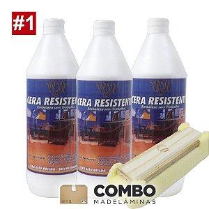 Combo 1 - Promocional - 3 litros de Cera para pisos brilhantes + 1 passa cera