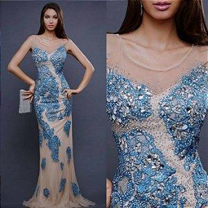 ff5b0ad2c VESTIDO LONGO BORDADO PEDRARIAS - Livia Fashion - Atelier de costura ...