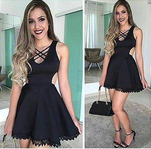 VESTIDO PRETO DETALHE DE RENDA S QVSYE5CBL