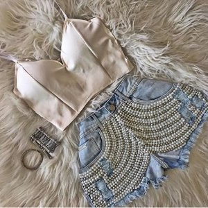 CONJUNTO SHORT BORDADO E CROPPED K V2WV22KX8