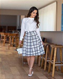 1bc73dd440 CONJUNTO BLUSA LAÇO E SAIA XADREZ K FLZQYM2XC - Livia Fashion ...