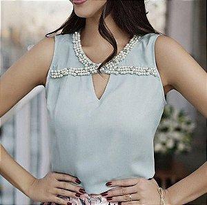 46df3cecc2426 BLUSA AZUL DE RENDA COM PÉROLAS K UMAXGCKVL - Livia Fashion ...