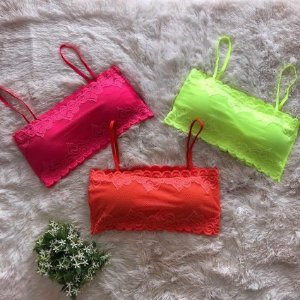 CROPPED DE RENDA NEON LARANJA K AT9KE9KF2