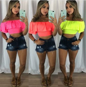 CROPPED NEON CIGANINHA CORAL K TPYXT4T2H