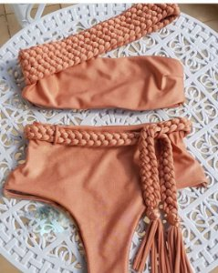 BIQUINE TERRACOTA HOT PANTS COM ENTRANÇADO K YB24NL8HD