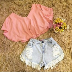 CONJUNTO CROPPED ROSA E SHORT DESTROYED K 4LGTDUDAW