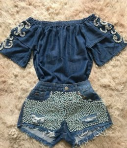 SHORT JEANS BORDADO S 9LXPZGGUM