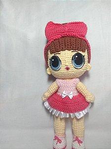 Boneca Amigurumi Vestido Rosa Chapéu Bailarina Antialérgico ... | 300x225