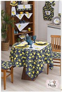 Toalha de Mesa Para 8 cadeiras – Limão Blue, 2,50m x 1,40cm.