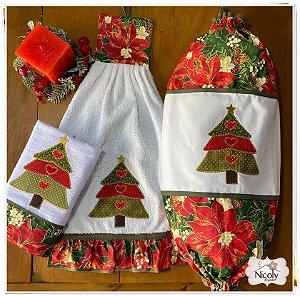 Jogo 3 peças- Árvore de Natal, 100% algodão