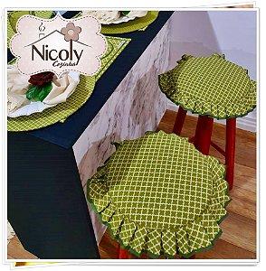 Assento Redondo – Limão, 29cm x 29cm.