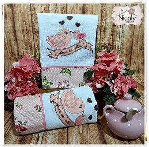 Conjunto Pano de Prato - Amor de mãe Rosa 70cm x 44cm.
