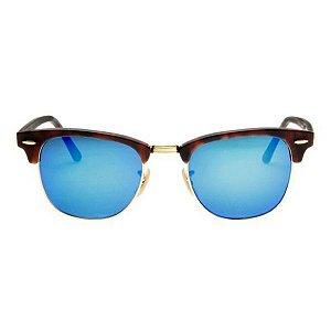 Óculos de Sol Ray-Ban Clubmaster RB3016 - tartaruga / azul espelhado