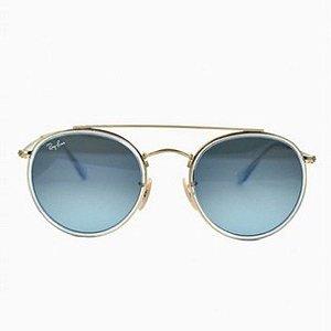 Óculos de Sol Ray-Ban RB3647 Round Double Bridge - azul / dourado