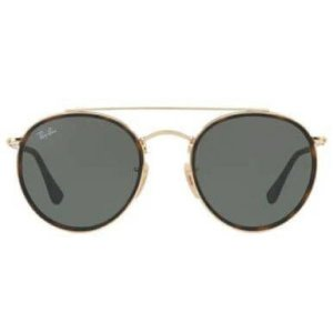 Óculos de Sol Ray-Ban RB3647 Round Double Bridge - preto / dourado