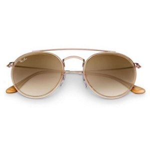 Óculos de Sol Ray-Ban RB3647 Round Double Bridge - marrom degrade