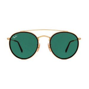 Óculos de Sol Ray-Ban RB3647 Round Double Bridge - verde / dourado