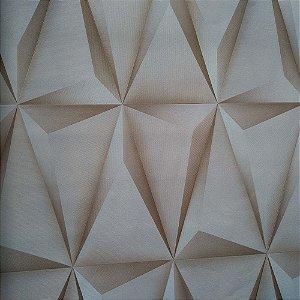 Papel de Parede Vinílico Importado Geométrico 3D Bege Neutro