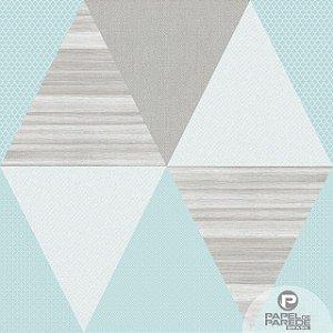 Papel de Parede Vinílico Importado Geométrico Triângulos Azul com Cinza