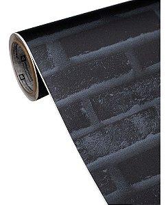 Adesivo Para Parede Tijolinho Preto (Vendido Por Metro) 122cm Largura x 100cm Comprimento (Cobre 1,22m² de Área)