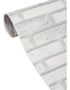 Adesivo Para Parede Tijolinho Branco (Vendido Por Metro) 122cm Largura x 100cm Comprimento (Cobre 1,22m² de Área)