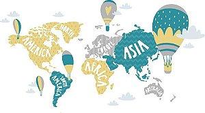 Adesivo de Parede Personalizado Mapas, Balões e Continentes Para Quarto Infantil
