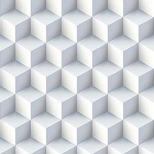 Adesivo de Parede Personalizado Cubos 3D em Tons de Branco e Cinza Para Quarto, Sala, Escritório
