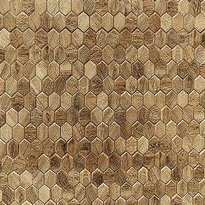 Adesivo de Parede Personalizado Hexágono com Textura de Madeira Rústica Para Área Gourmet, Cozinha