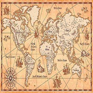 Adesivo de Parede Personalizado Mapa Antigo Para Escritório, Quarto Jovem