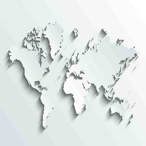 Adesivo de Parede Personalizado Mapa 3D em Tons de Branco e Cinza Para Escritório, Quarto Jovem