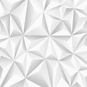 Adesivo de Parede Personalizado Gesso Branco Polígonos Abstratos 3D Para Quarto, Sala, Escritório, Cozinha