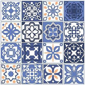 Adesivo de Parede Personalizado Azulejo Decorativo em Tons de Azul Para Cozinha, Churrasqueira