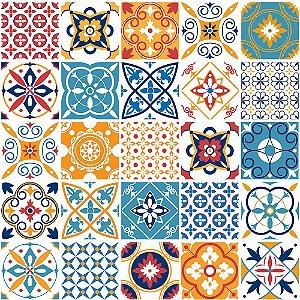 Adesivo de Parede Personalizado Azulejo Decorativo em Tons Coloridos Para Cozinha, Churrasqueira