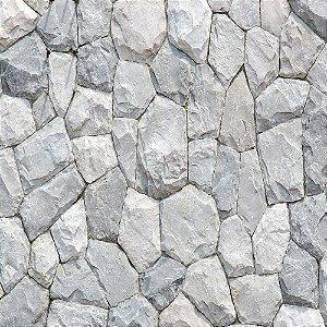 Adesivo de Parede Personalizado Pedra Decorativa Rústica em Tons de Cinza Para Área Gourmet, Churrasqueira