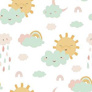 Adesivo de Parede Personalizado Sol e Nuvens Para Quarto Infantil