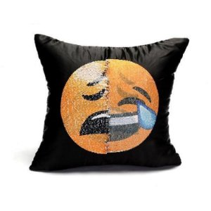 Almofada Lantejoula Emoji Triste e Gargalhada