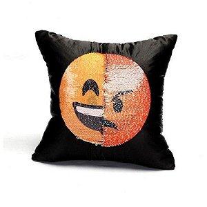 Almofada Lantejoula Emoji Rindo e Raiva