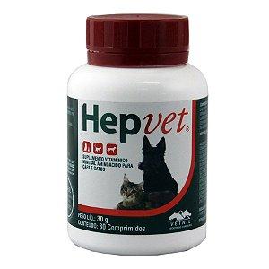 HepVet 30 comprimidos Vetnil Suplemento Cães e Gatos