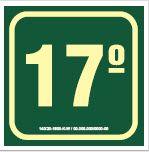 Placa de Sinalização de Indicador de Pavimento Fotoluminescentes - 17º Andar