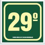 Placa de Sinalização de Indicador de Pavimento Fotoluminescentes - 29º Andar