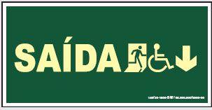 Placa de Sinalização de Saída para Cadeirante Abaixo