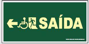 Placa de Sinalização de Saída para Cadeirante à Esquerda