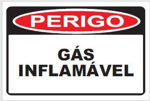 Placa de Sinalização de Advertência Perigo Gás Inflamável