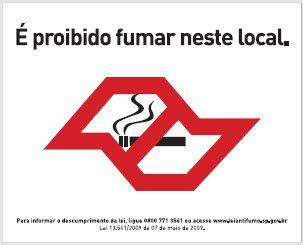 Placa de Sinalização de Advertência Proibido Fumar Legislação