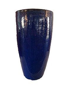 Vaso de Cerâmica Vietnamita Azul Escuro Alto