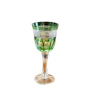 Taça Decorativa de Cristal Verde para Água