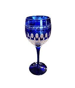 Taça Decorativa de Cristal Azul para Vinho