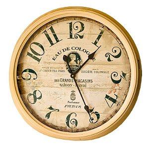 Relógio De Parede Antigo - 62cm Diâmetro - Parfumeur Paris