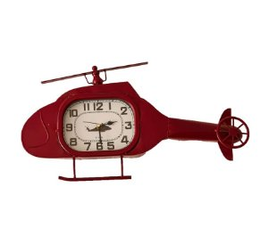 Relógio De Parede Helicóptero de Metal - 28x55x05 cm - U.S.A.