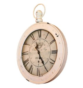 Relógio De Parede em Metal Branco - 80x60x10cm - Cronômetro